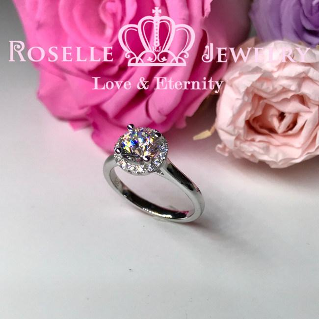 Halo Engagement Ring - V32 - Roselle Jewelry