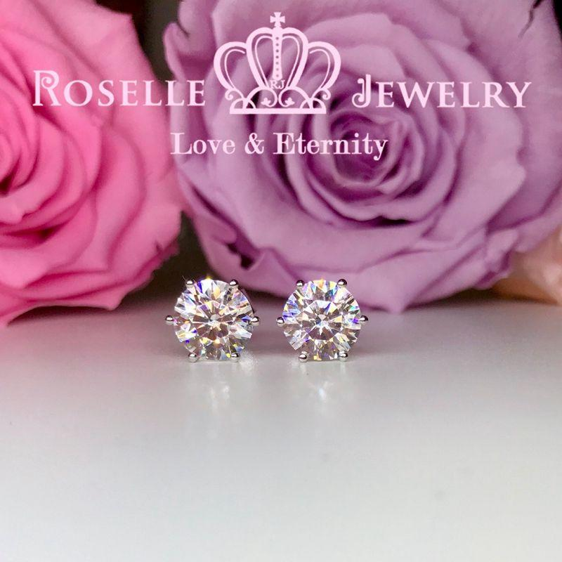 Six Prong Stud Earrings - H150 - Roselle Jewelry