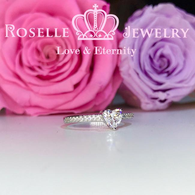 Heart Shape Side Stone Engagement Ring - HR2 - Roselle Jewelry