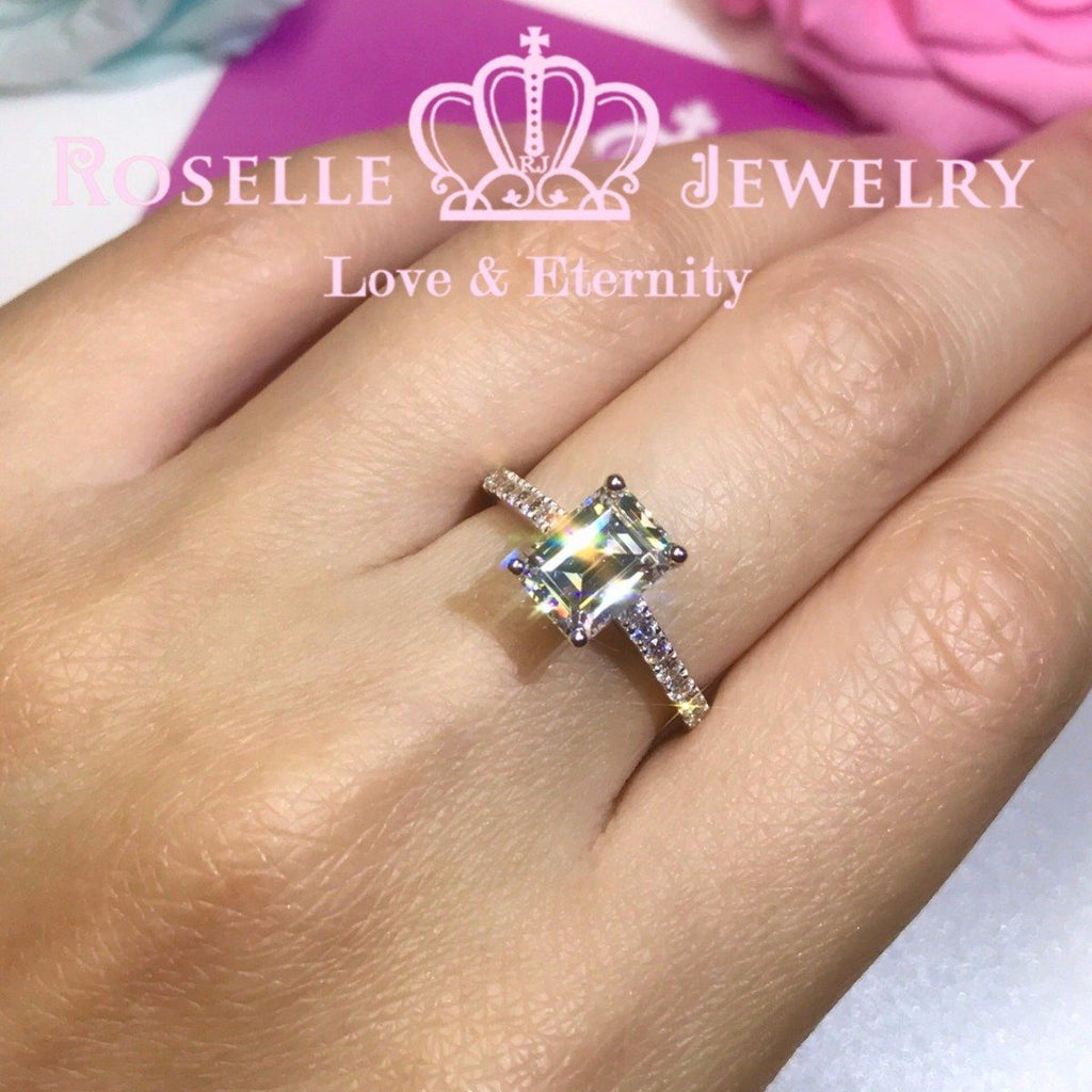 Emerald Cut Side Stone Engagement Ring - TE1 - Roselle Jewelry