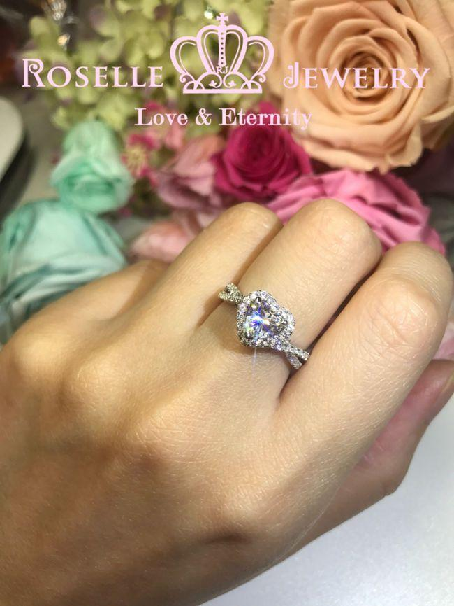 Heart Shape Halo Engagement Ring - VS6 - Roselle Jewelry