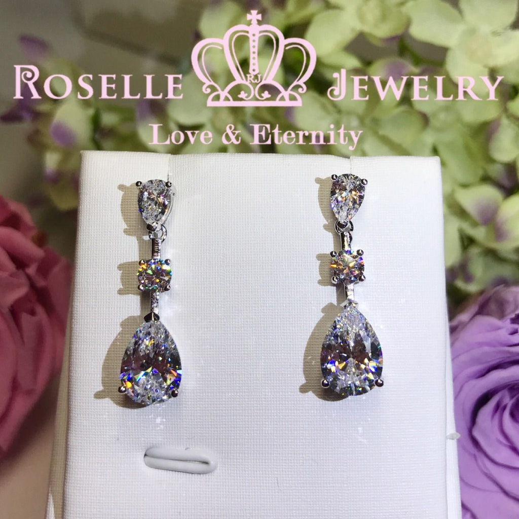 Pear Cut Drop Earrings - PE1 - Roselle Jewelry
