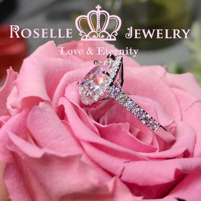 Pear Cut Halo Engagement Ring - VP1 - Roselle Jewelry