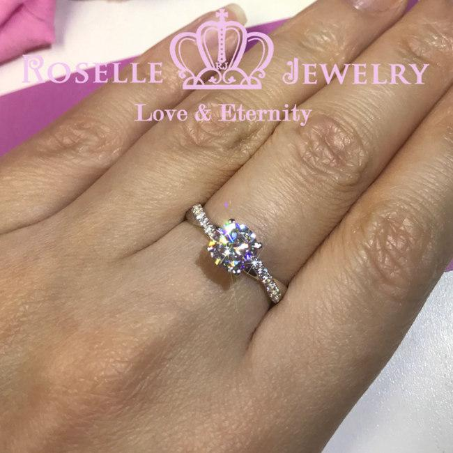 Twist Side Stone Engagement Ring - T17 - Roselle Jewelry