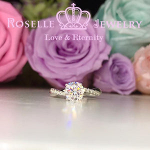 Twist Side Stone Engagement Ring - T17
