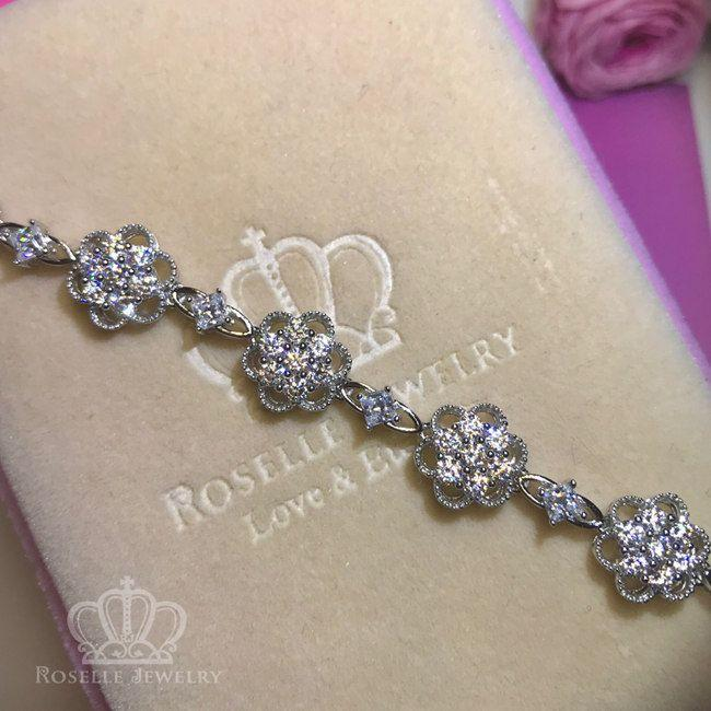 Floral Tennis Bracelet - BF1 - Roselle Jewelry