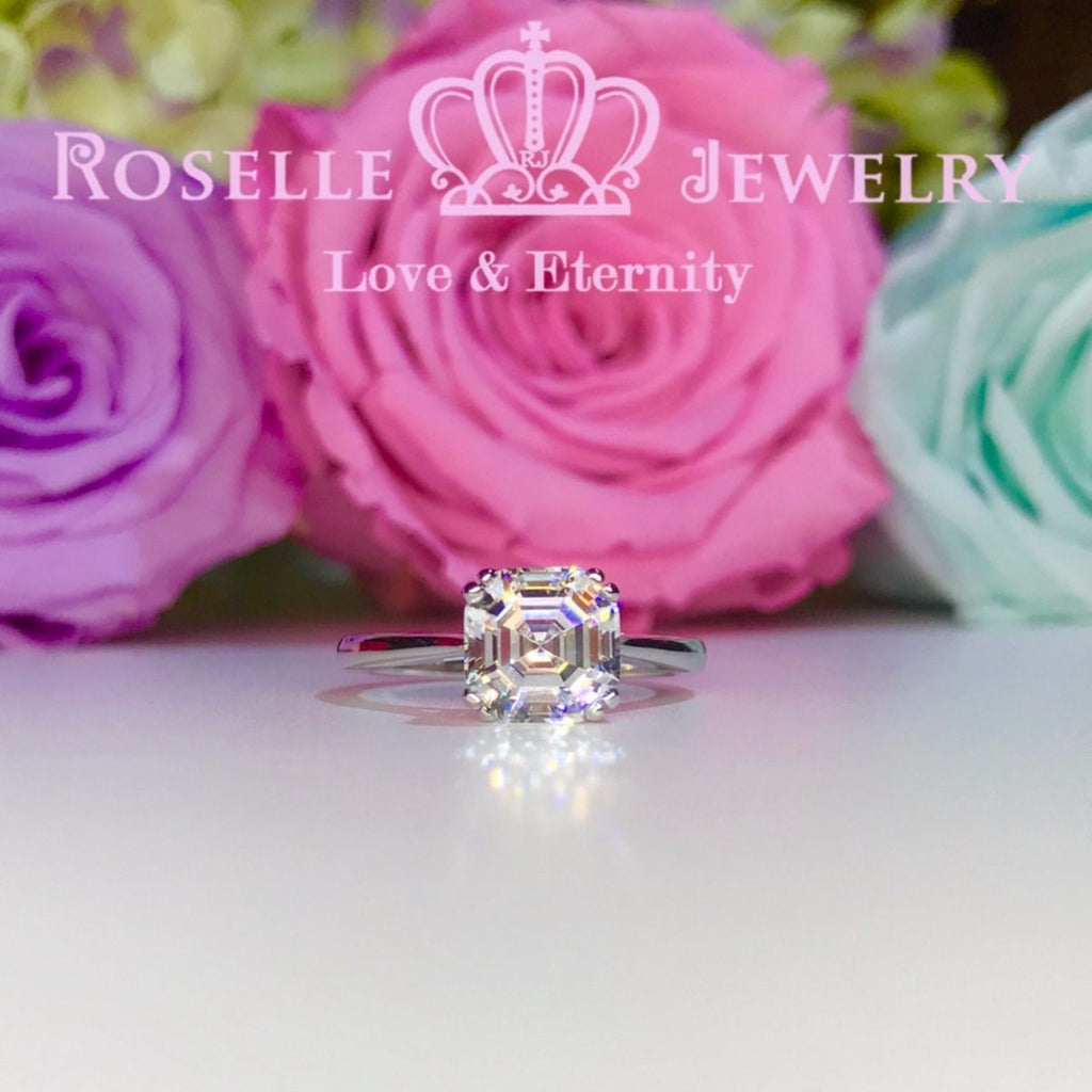 Asscher Cut Solitaire Engagement Ring - NA1 - Roselle Jewelry