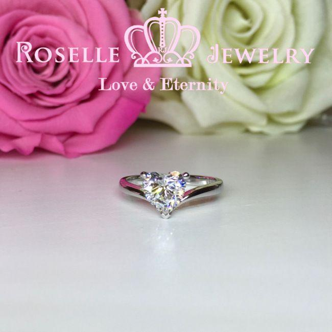 Heart Shape Solitaire Engagement Ring - T7A - Roselle Jewelry