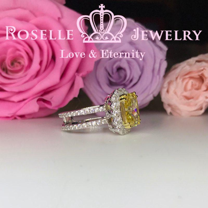 Fancy Yellow Cushion Cut Halo Engagement Ring - FY2 - Roselle Jewelry