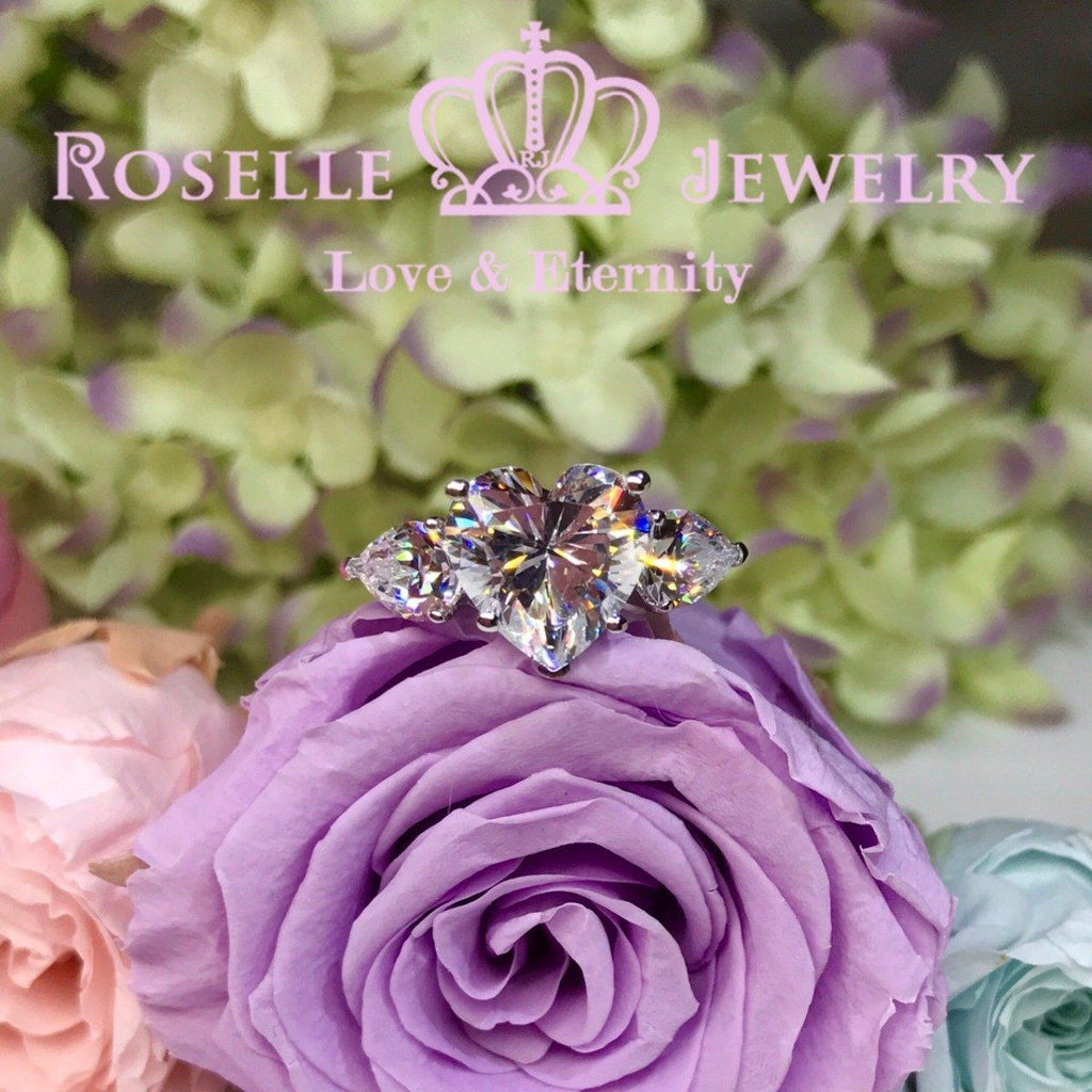 Heart Shape Three Stone Engagement Rings - T19 - Roselle Jewelry