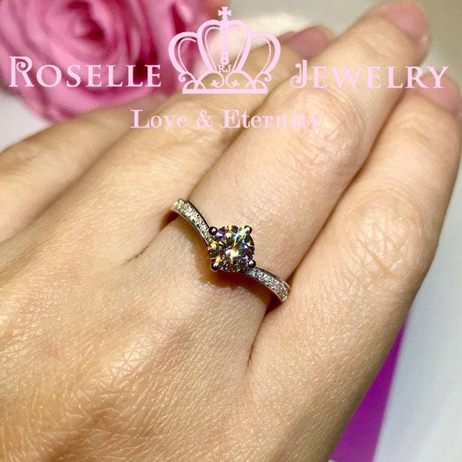 V Shape Side Stone Engagement Ring - T21 - Roselle Jewelry