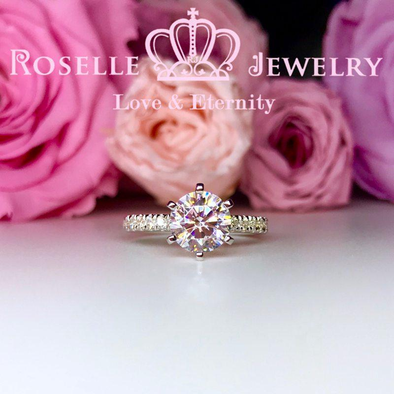 Six Prong Side Stone Engagement Ring - T1 - Roselle Jewelry