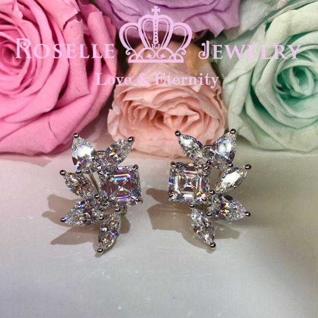 Asscher Pear & Marquise Cut Cluster Earrings - VE2 - Roselle Jewelry
