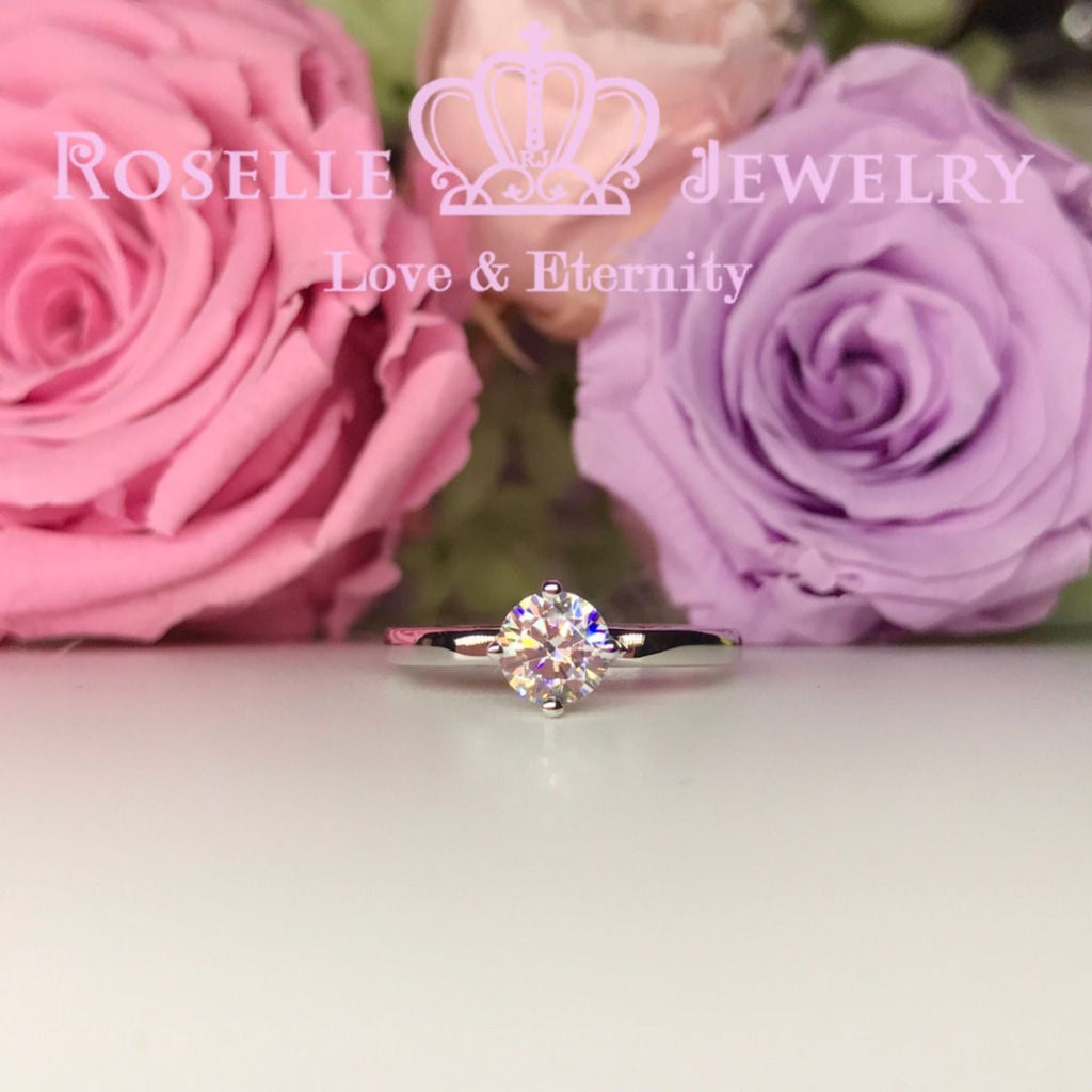 Round Brilliant Cut Filigree Solitaire Engagement Ring - V20 - Roselle Jewelry