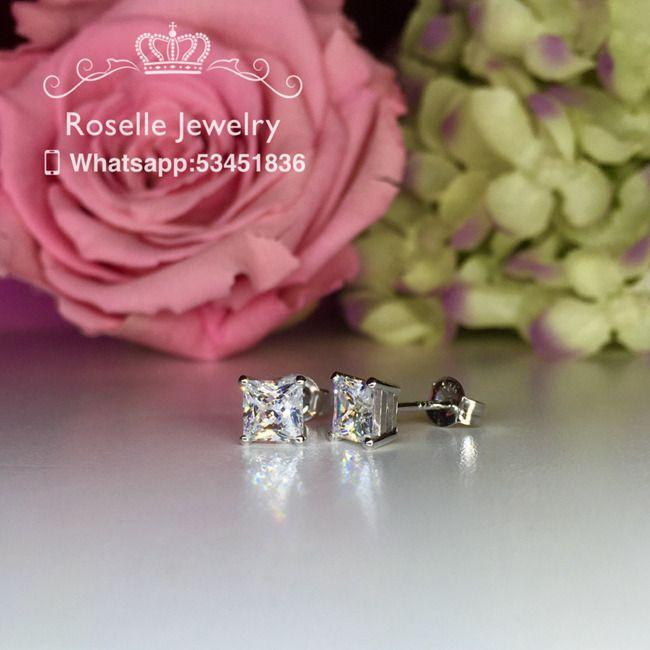 Princess Cut Stud Earrings - PS1 - Roselle Jewelry