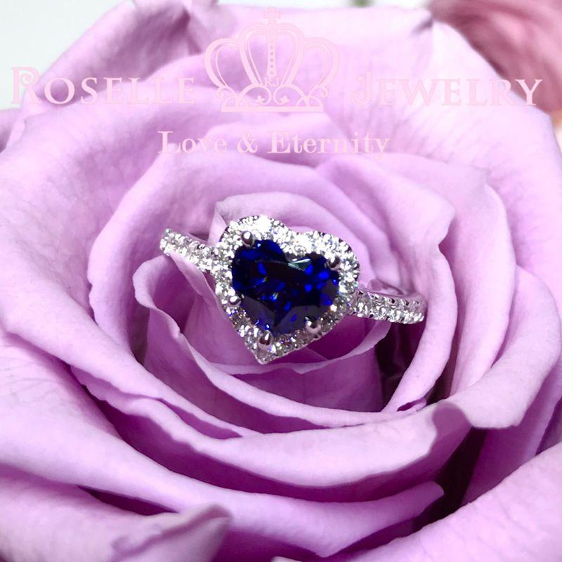 Heart Shape Lab Grown Sapphire Halo Engagement Ring - HS1 - Roselle Jewelry