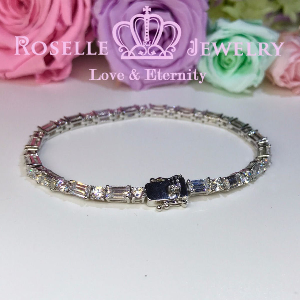 Emerald Cut and Round Brilliant Cut Tennis Bracelet - BE1 - Roselle Jewelry