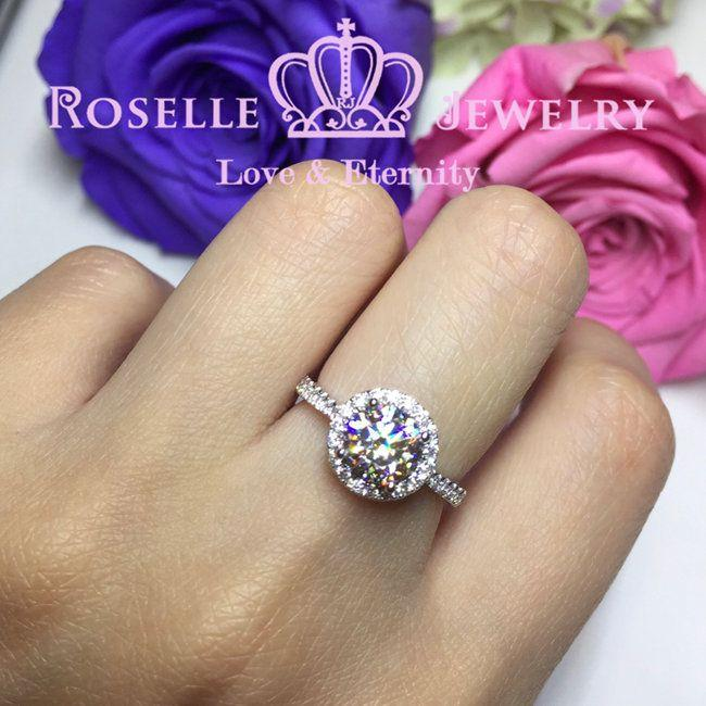 Halo Engagement Ring - V12 - Roselle Jewelry