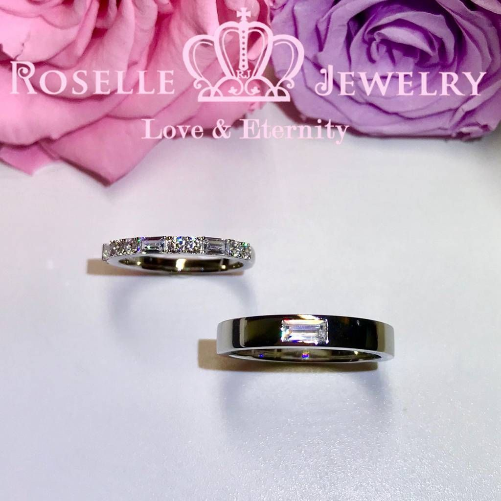 Emerald Cut Couple Ring - WM3 - Roselle Jewelry