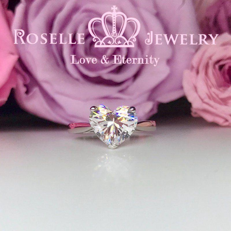 Happy Heart Shape Solitaire Engagement Ring - NH3 - Roselle Jewelry