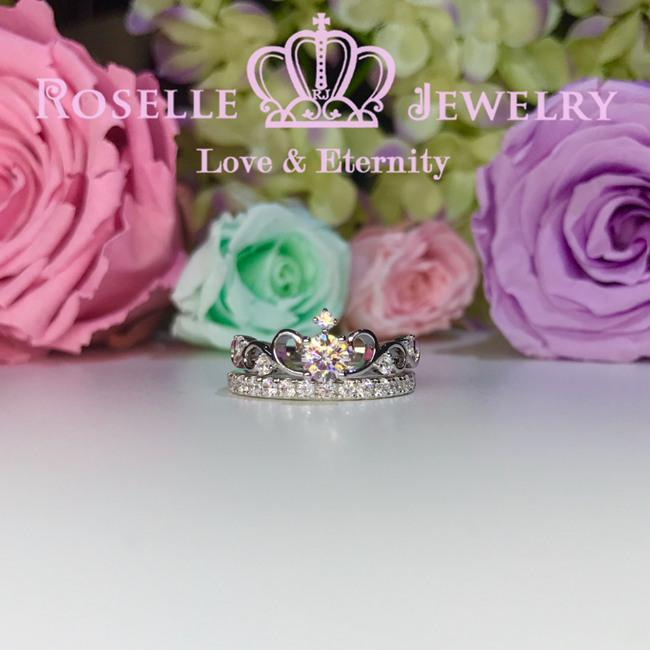 Crown Side Stone Engagement Ring Setting - TN1S - Roselle Jewelry