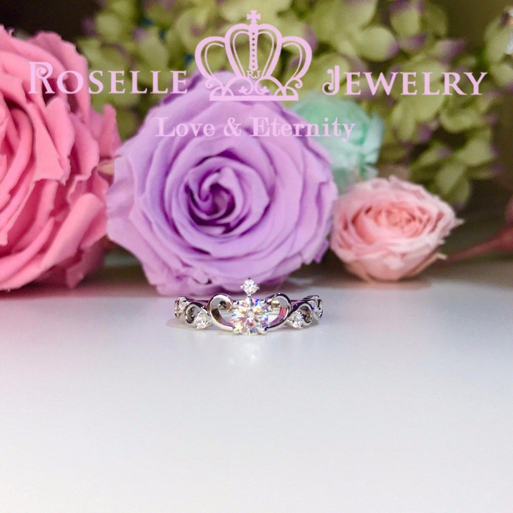 Crown Side Stone Engagement Ring - TN1 - Roselle Jewelry