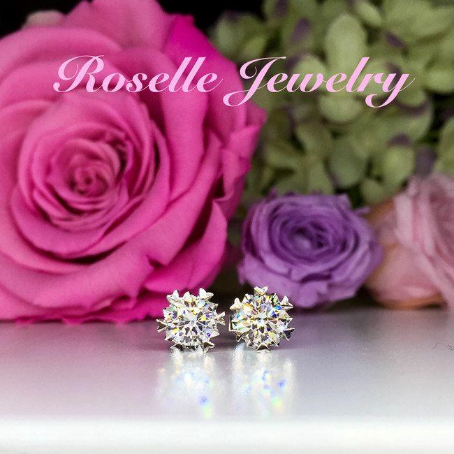 Heart Shape Prong Stud Earrings - ER4 - Roselle Jewelry