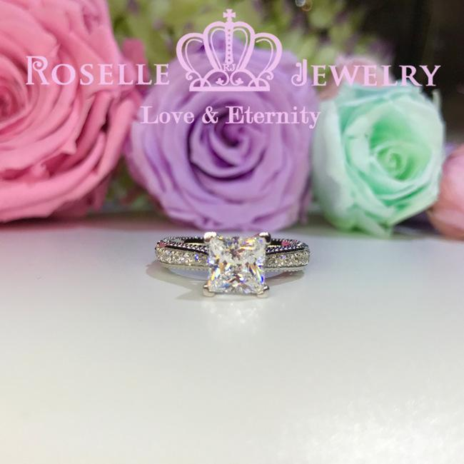 Princess Cut Vintage Engagement Ring - V15 - Roselle Jewelry