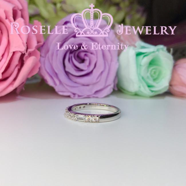 Emerald Cut & Brilliant Wedding Ring - BA24 - Roselle Jewelry