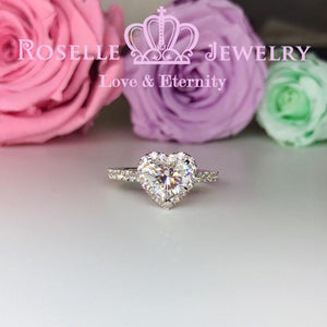 Heart Shape Halo Engagement Ring - VH2