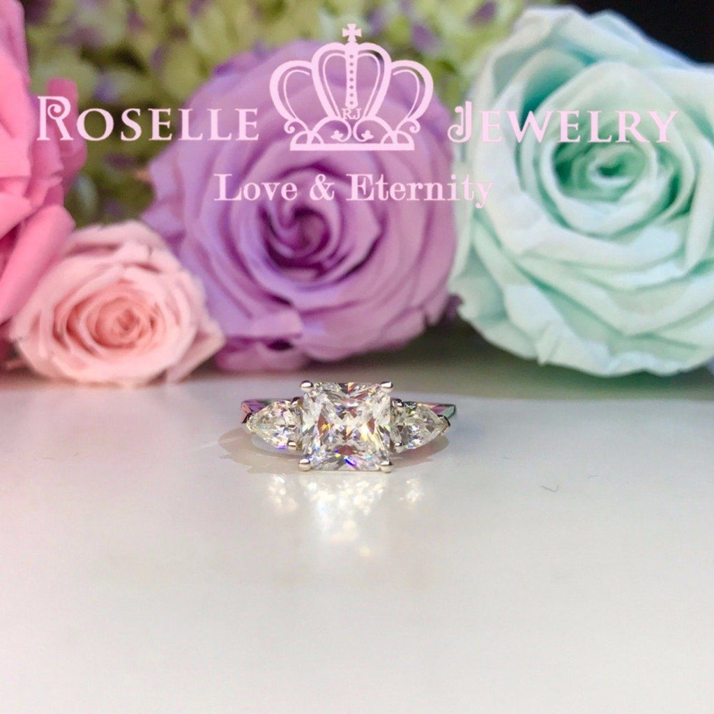 Princess Cut Three Stone Engagement Rings - T18 - Roselle Jewelry
