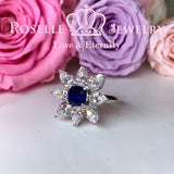 Lab Grown Sapphire Floral Fashion Ring - SS2