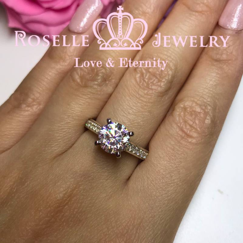 Four Prong Side Stone Engagement Rings - T9 - Roselle Jewelry