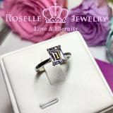 Emerald Cut Solitaire Engagement Ring - NE1