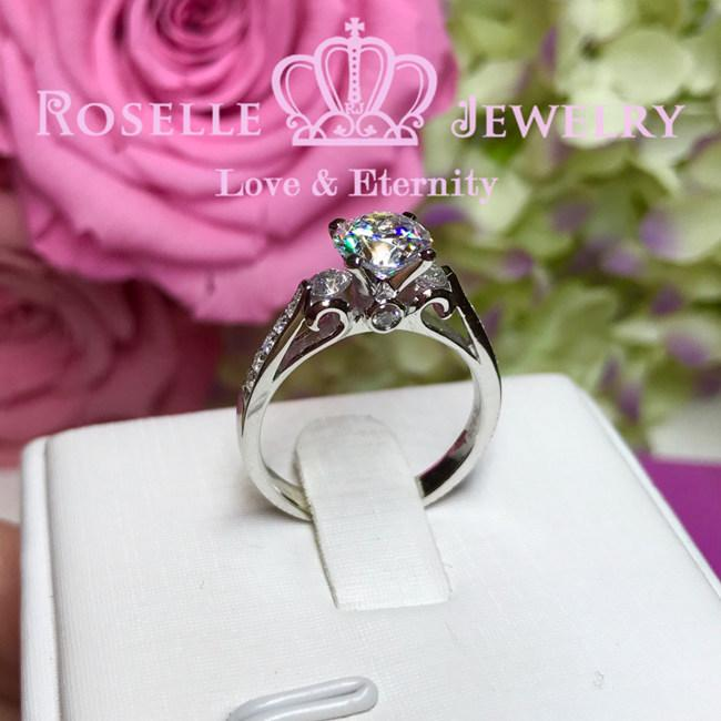 Vintage Side Stone Engagement Ring - V1 - Roselle Jewelry