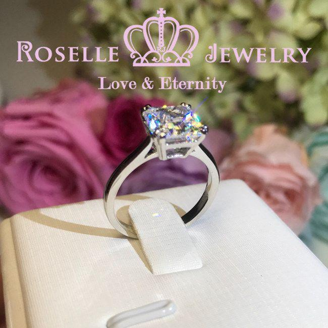 Four Prong Radiant Cut Solitaire Engagement Ring - NR1 - Roselle Jewelry