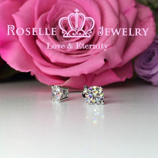 Four Prong Stud Earrings - R60 - Roselle Jewelry