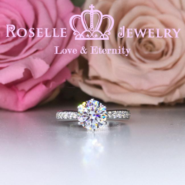 Six Prong Side Stone Engagement Ring - T12 - Roselle Jewelry