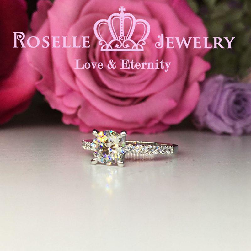 Four Prong Side Stone Engagement Ring - T4 - Roselle Jewelry