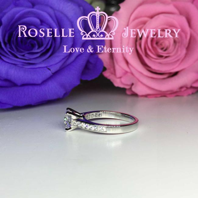 Four Prong Side Stone Engagement Ring - T5 - Roselle Jewelry