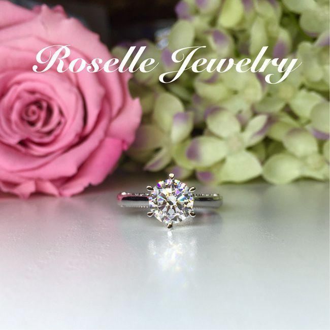 Six Prong Vintage Solitaire Engagement Ring - V14 - Roselle Jewelry