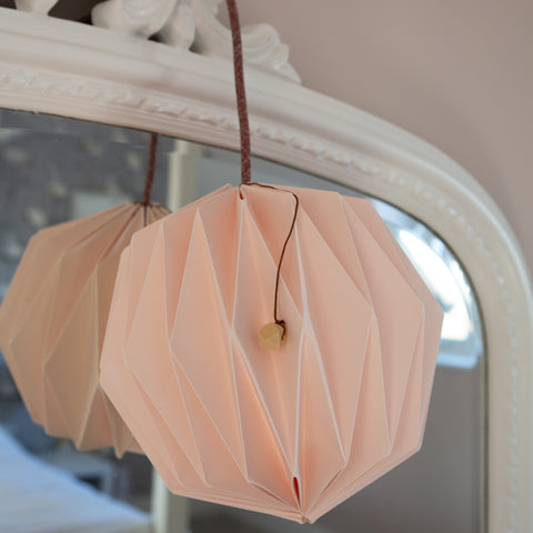 Oblique handmade lamp shade in soft pink