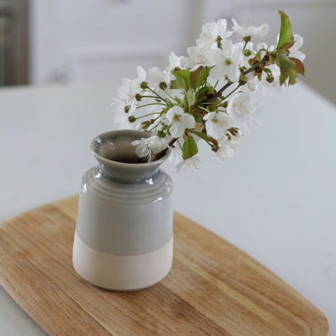 Handmade Grey Vase With a Branch of Blossom