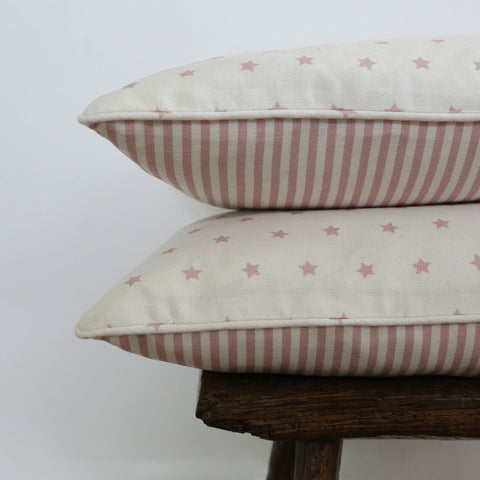 Handmade Oblong Cushions in Olive & Daisy's Shooting Stars & Candy Stripe in Rose Pink