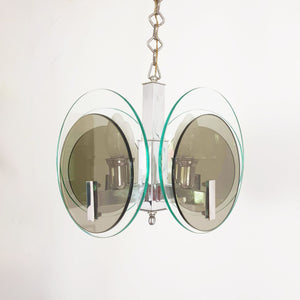 1960s Italian glass and chrome ceiling light