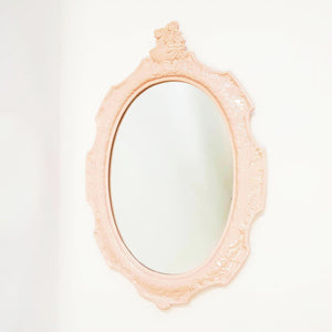1970s pink ceramic oval mirror