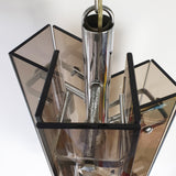 Vintage 1970s glass and chrome chandelier (4632848859180)