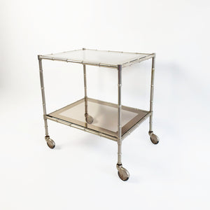 1960s chrome and smokey glass drinks trolley