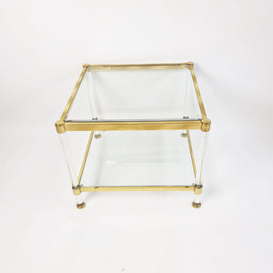Original 1970s glass and brass Italian coffee table