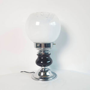 1970s glass and chromed metal table lamp